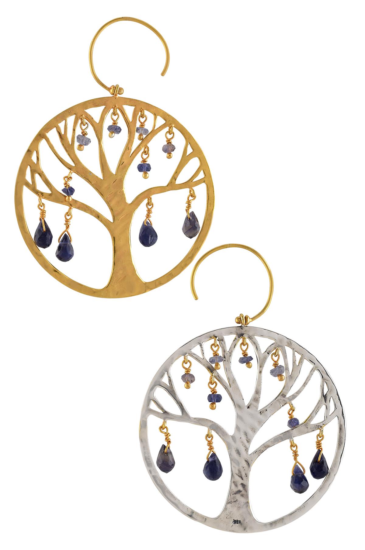 Silver Two Tone Amethyst Tree Earrings