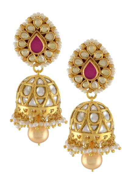 Silver Gold Plated Crystal Studded Pear Pearl Drop Jhumki Earrings