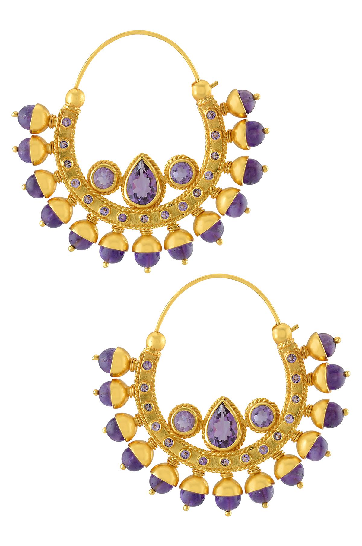 Silver Gold Plated Amethyst Moon Bud Earrings