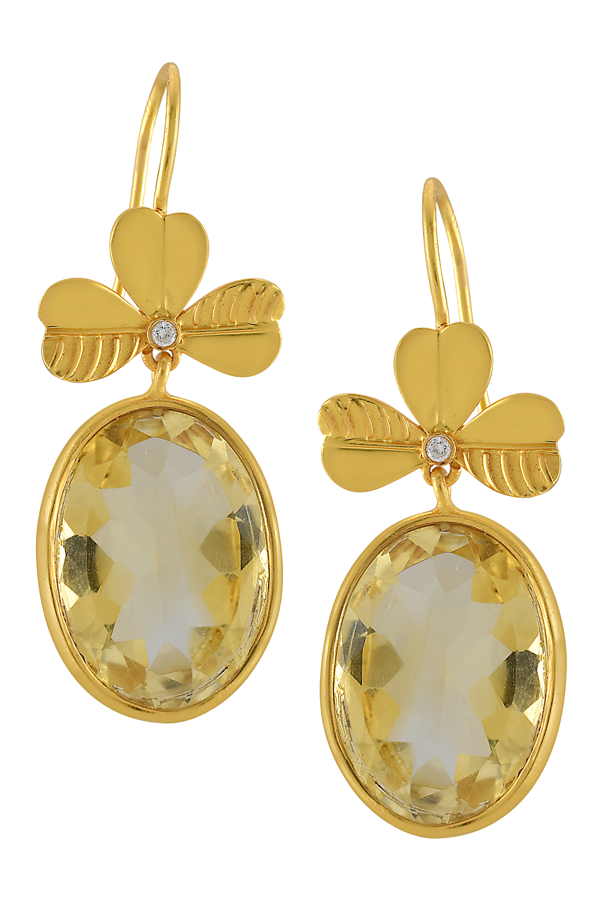 Silver Gold Plated Floral Citrine Earrings