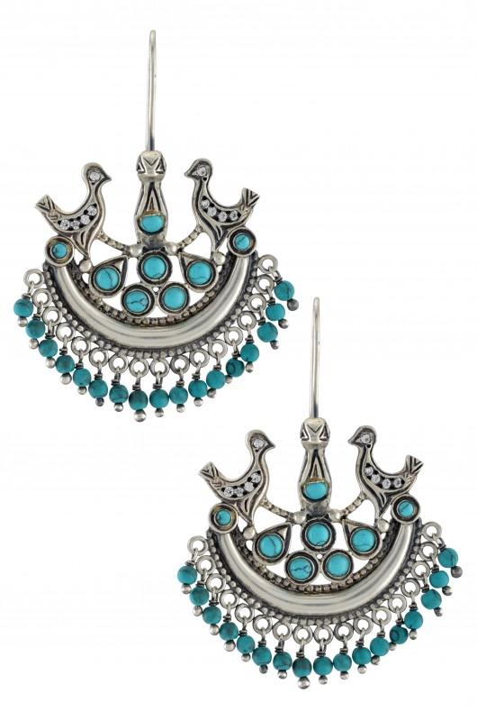 Silver Bird Hanging Turquoise Bead Earrings