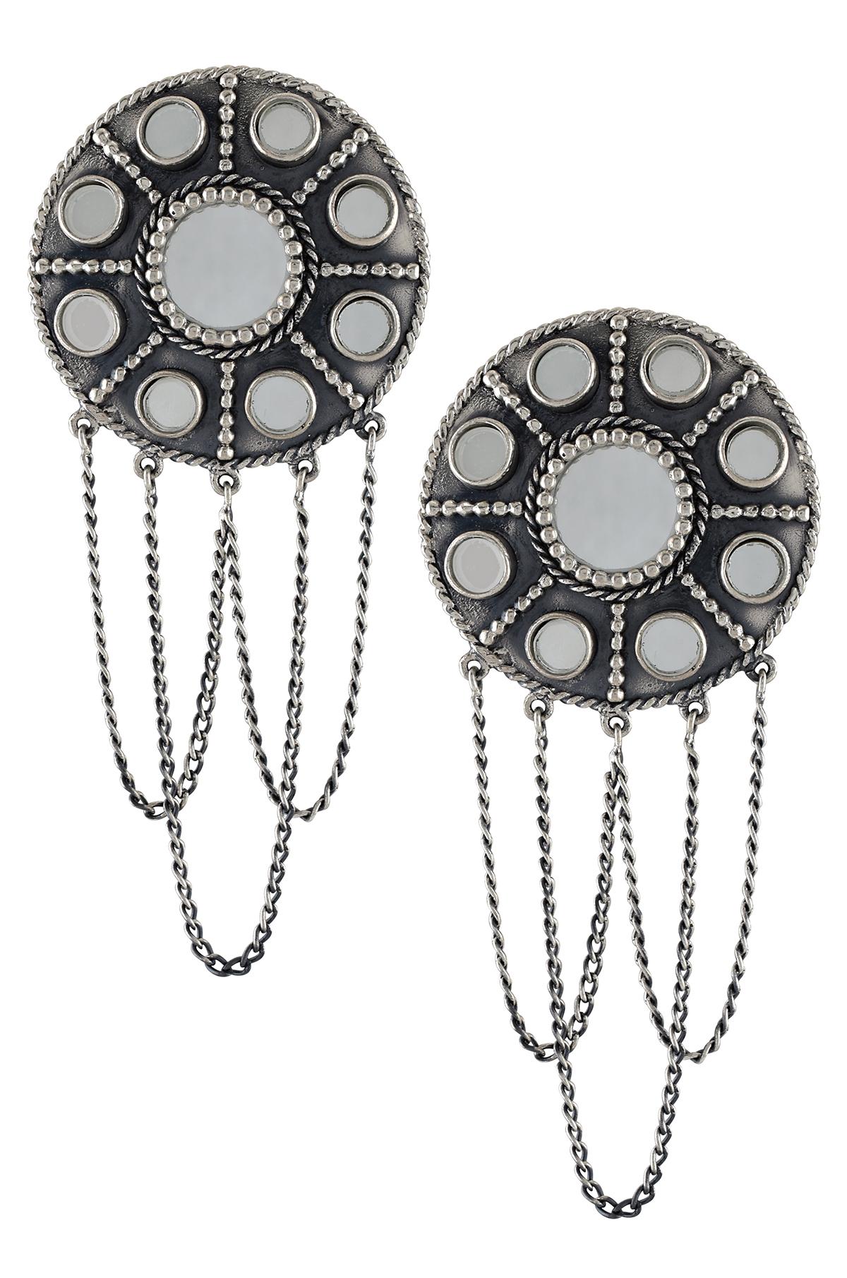 Silver Oxidised Round Tassel Drop Mirror Earrings