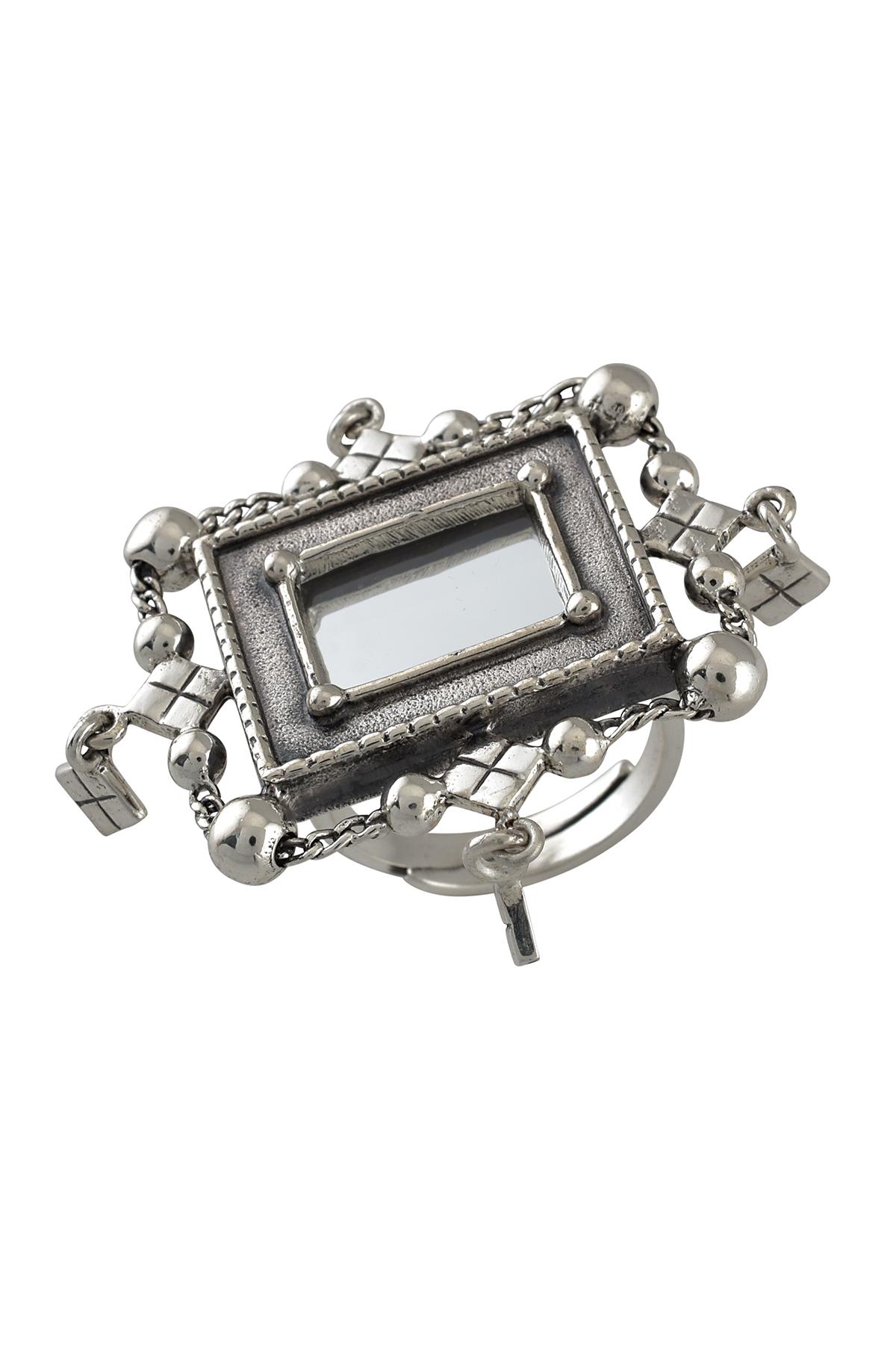 Silver Square Frame Mirror Rhomb Ring