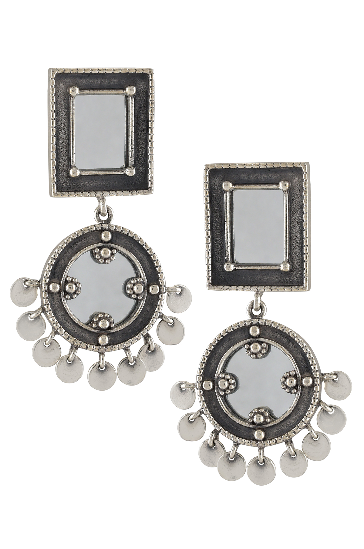 Silver Square Round Charm Drop Mirror Earrings