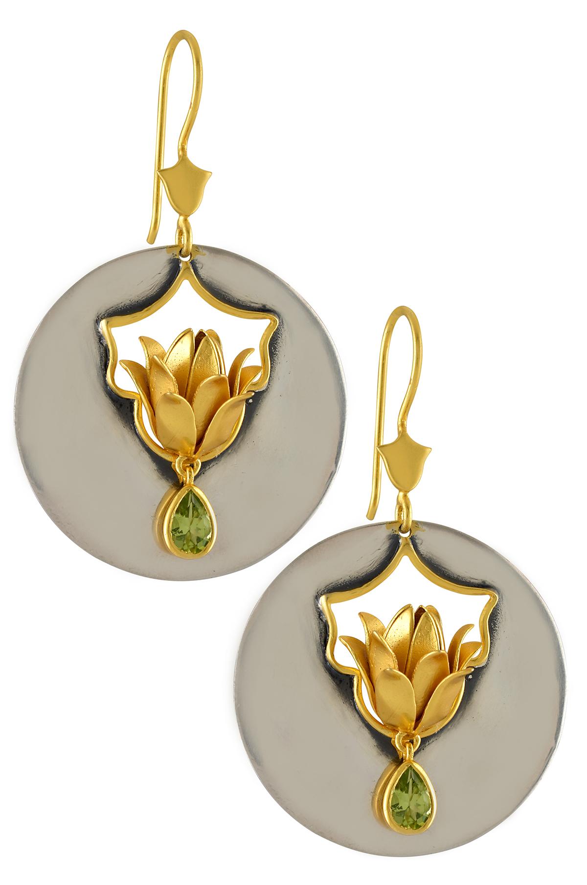 Silver Two Tone Floral Disc Peridot Earrings