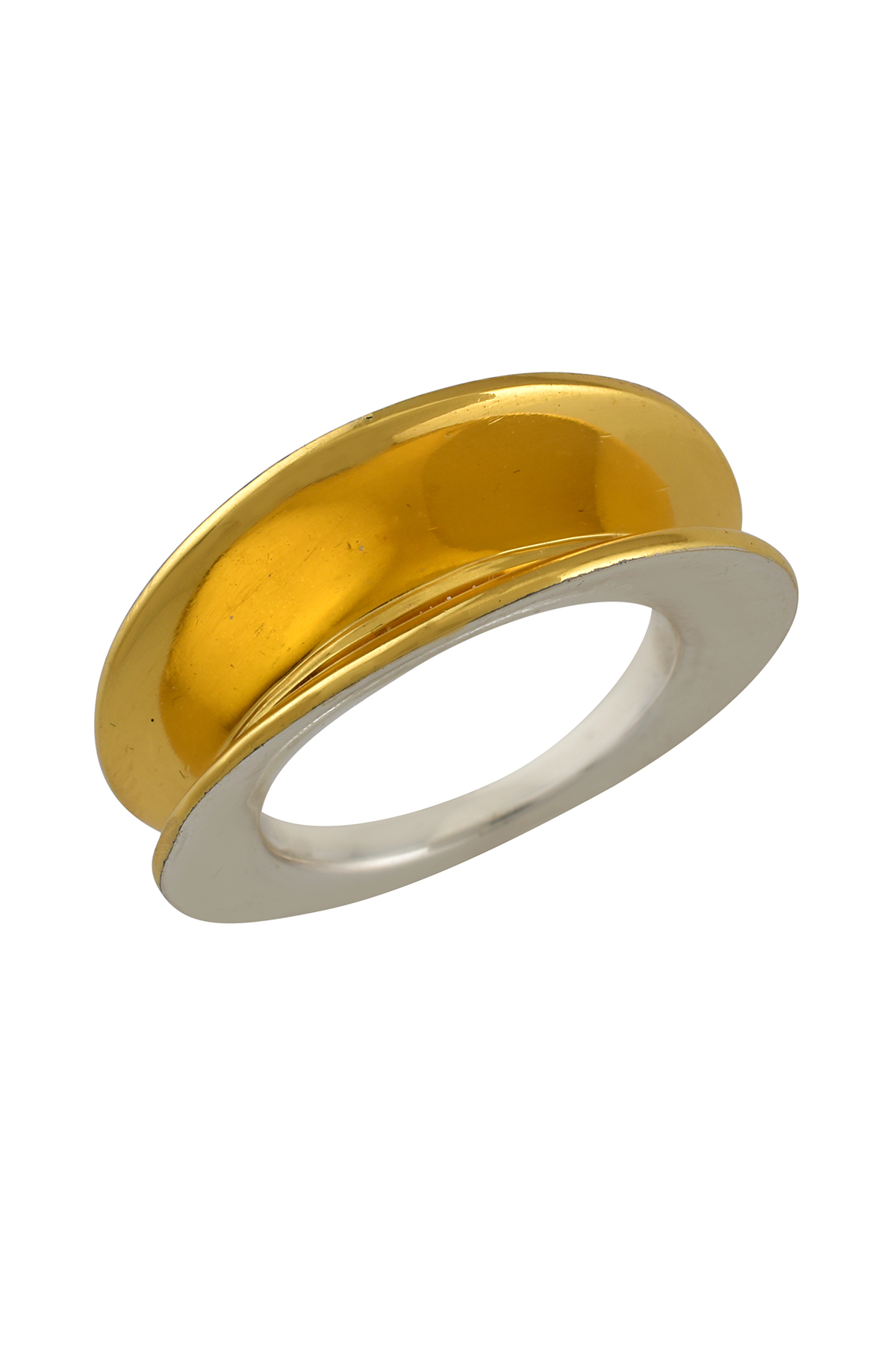 Silver Two Tone Disc Ring