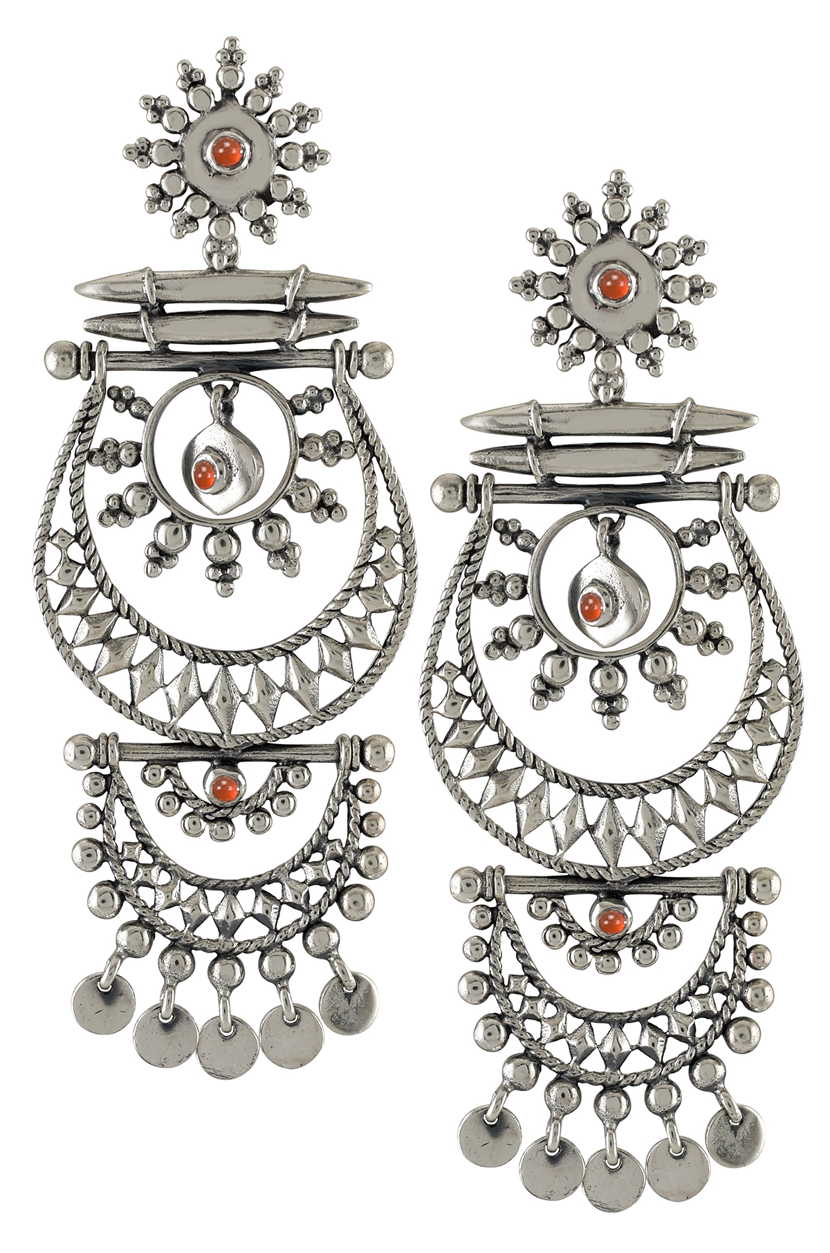 Silver Oxidised Crescent Rawa Charm Hanging Earrings