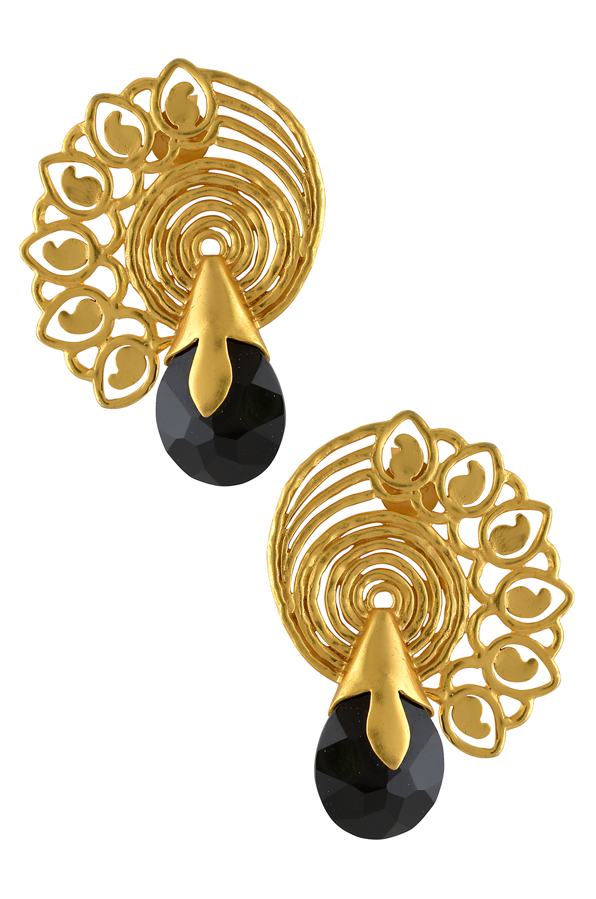 Silver Gold Plated Black Onyx Spiral Paisley Earrings