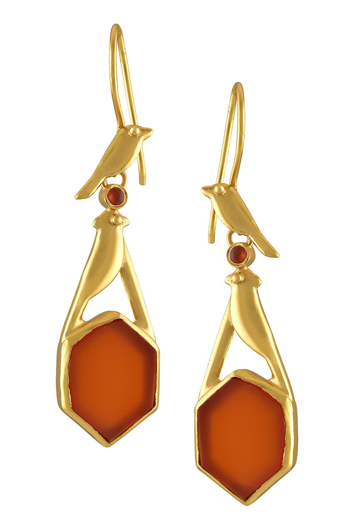Silver Gold Plated Hexagon Carnelian Bird Earrings