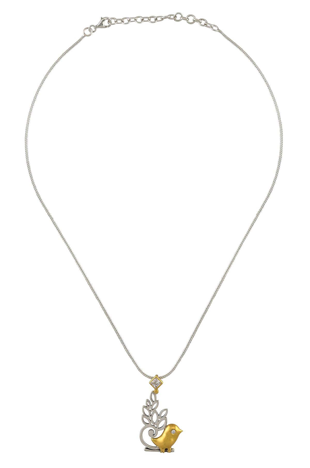 Silver Dual Tone Leafy Bird Zircon Necklace