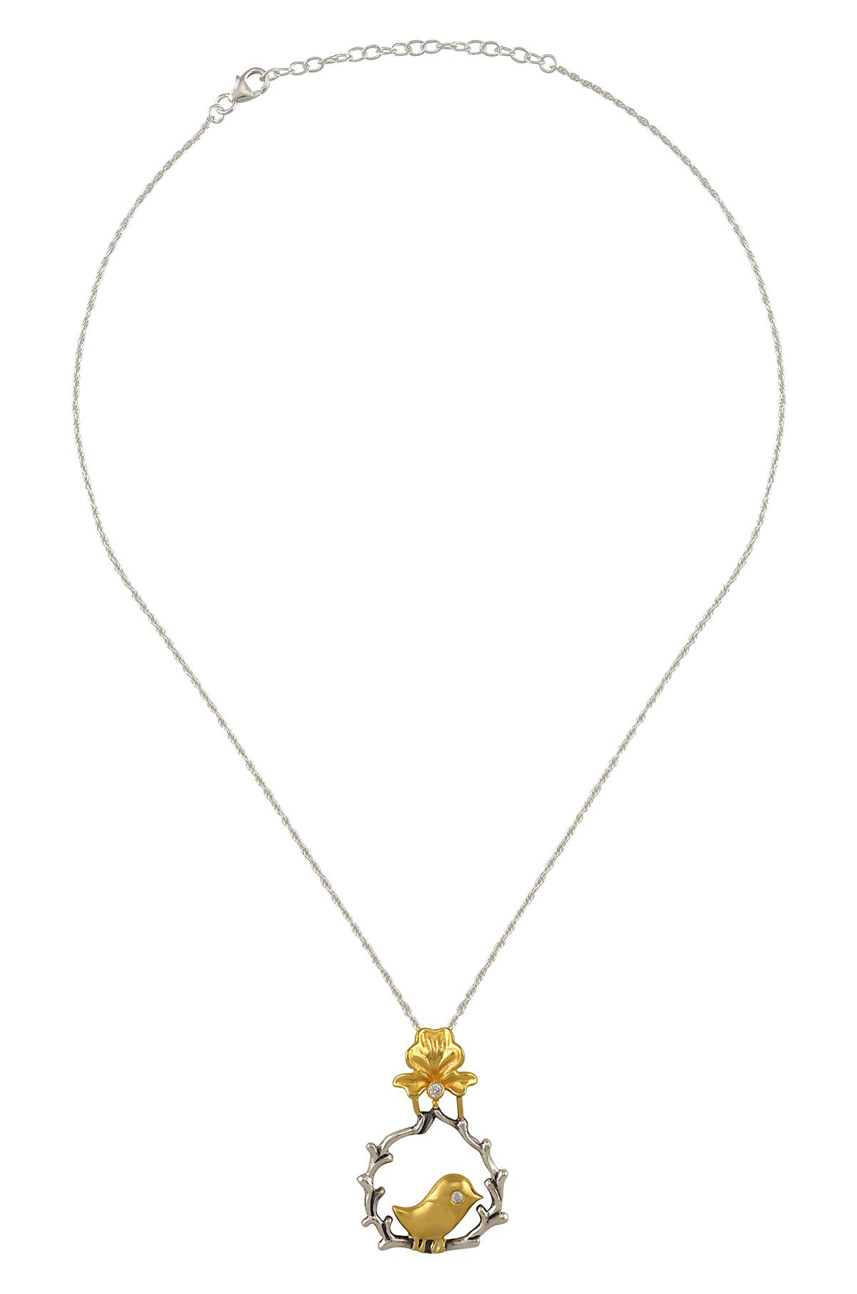Silver Dual Tone Flower Bird Round Necklace