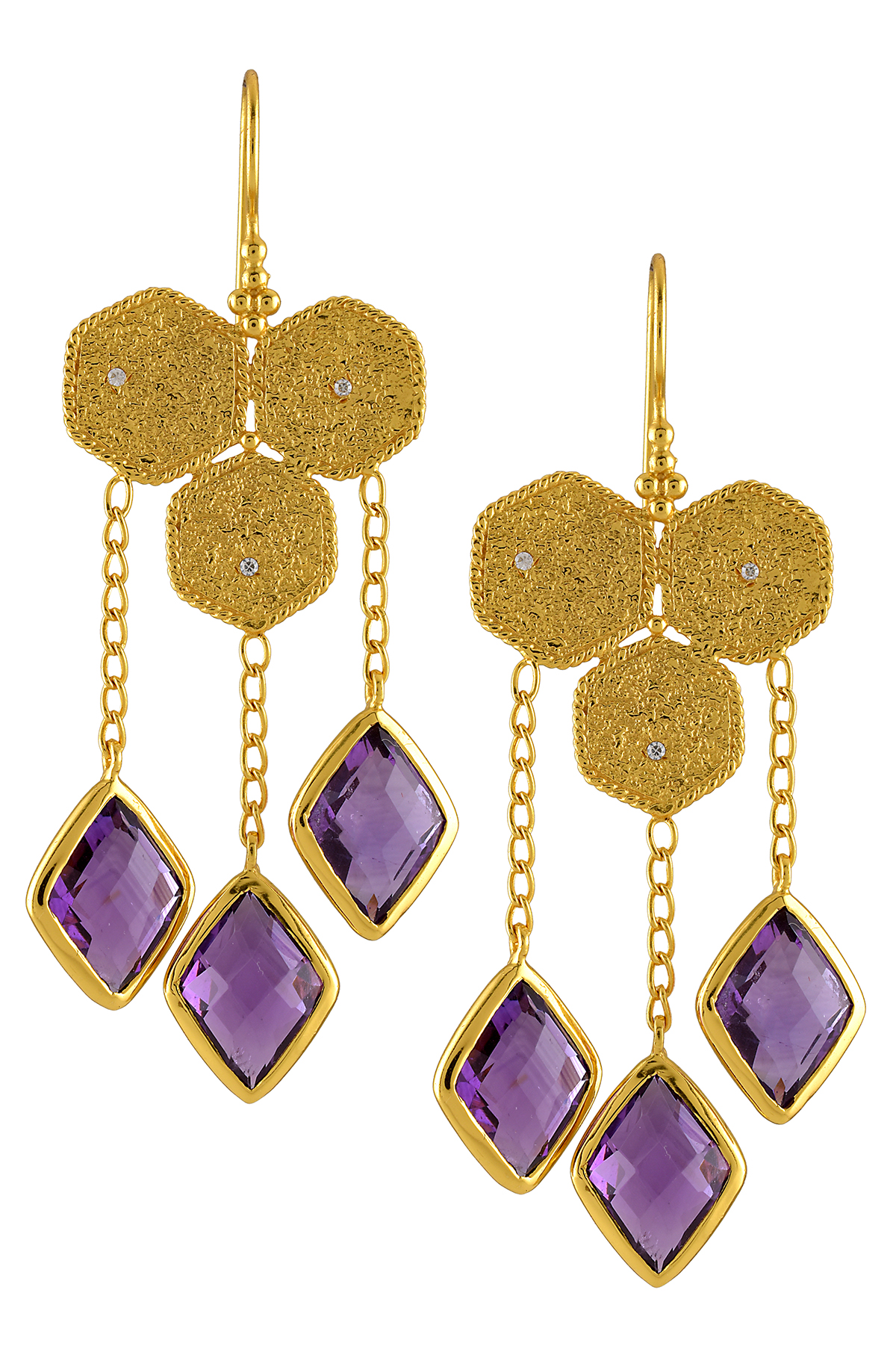 Silver Gold Plated Textured Zircon Amethyst Hanging Earrings