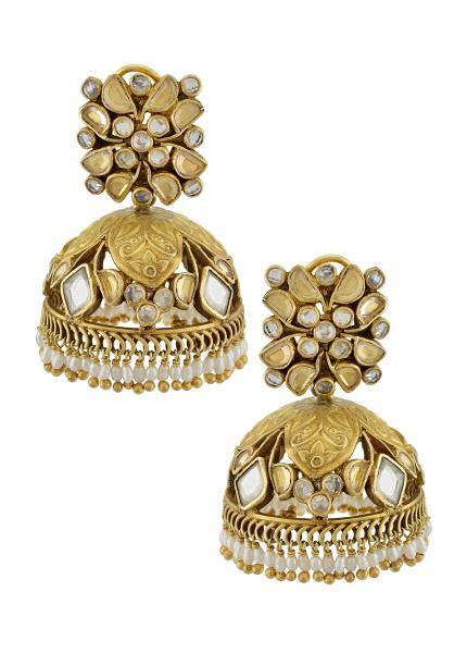 Silver Gold Plated Floral Leaf Motif Crystal Jaali Pearl Jhumka Earrings