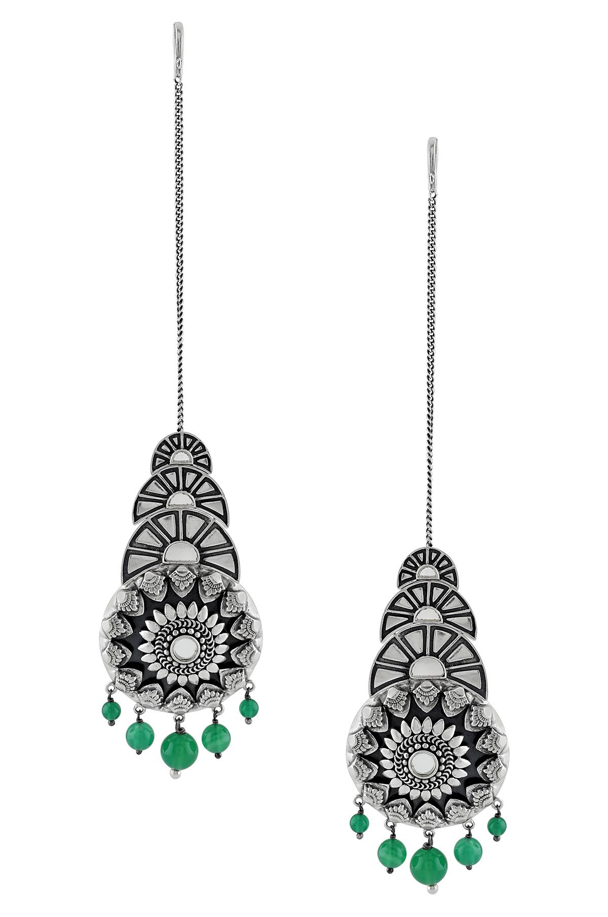 Silver Oxidised Mirror Flower Fan Motif Green Earrings