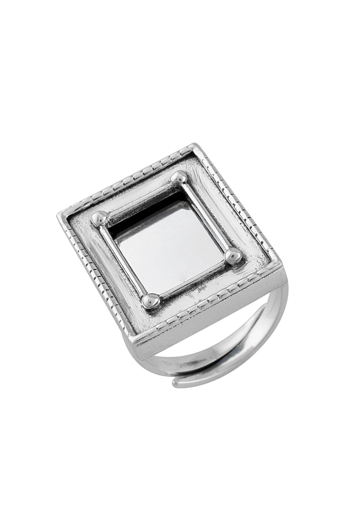 Silver Rectangular Frame Mirror Adjustable Ring