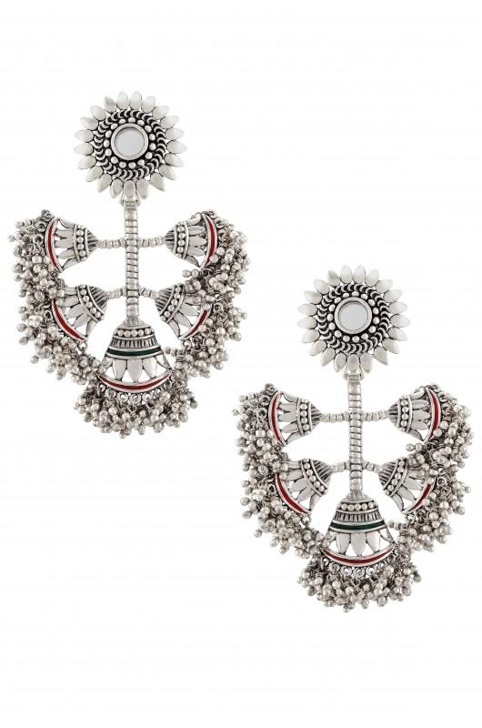 Silver Oxidised Ball Drop Clusters Floral Mirror Earrings