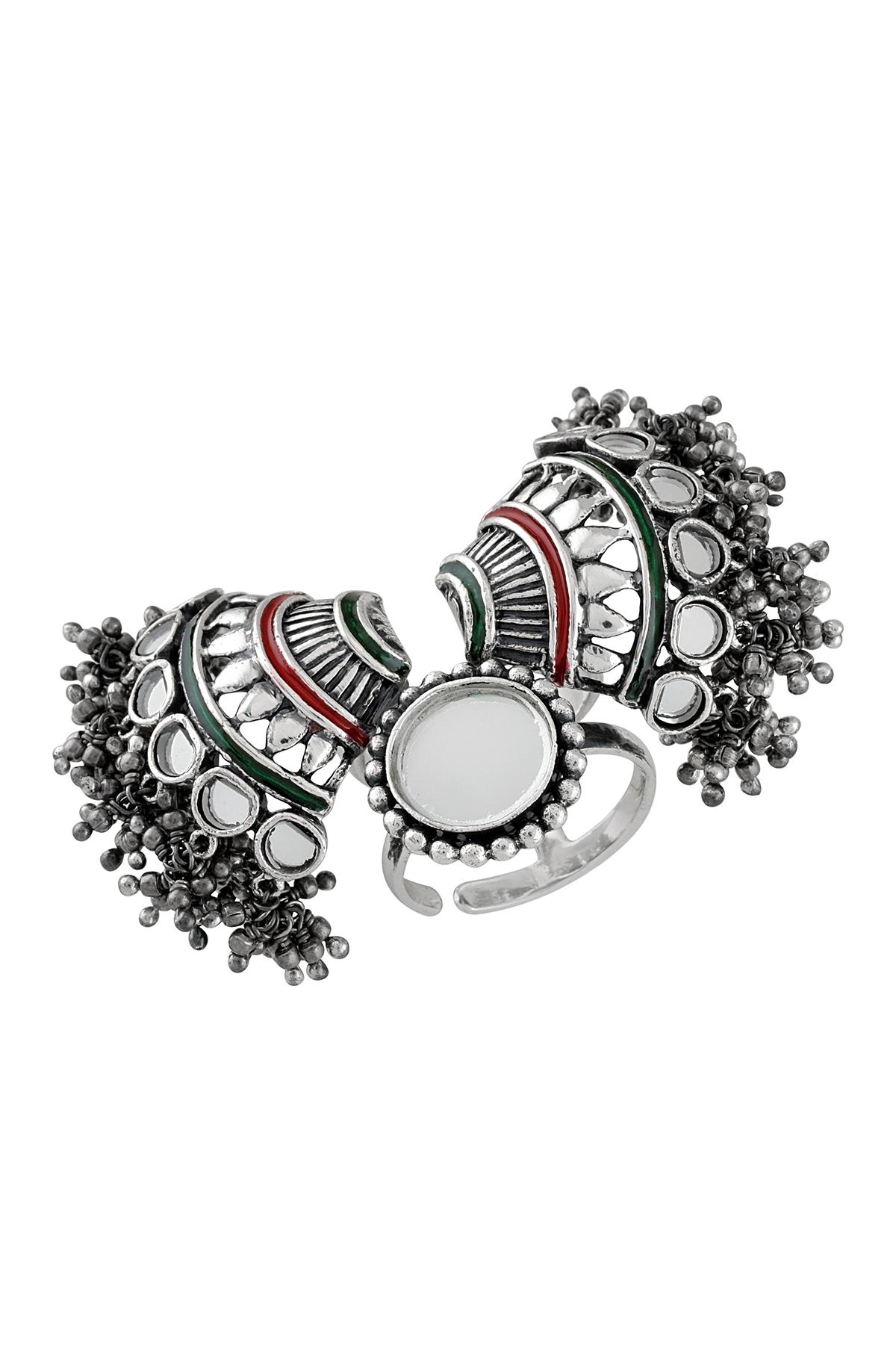 Silver Fan Motif Mirror Ball Bead Cluster Adjustable Ring