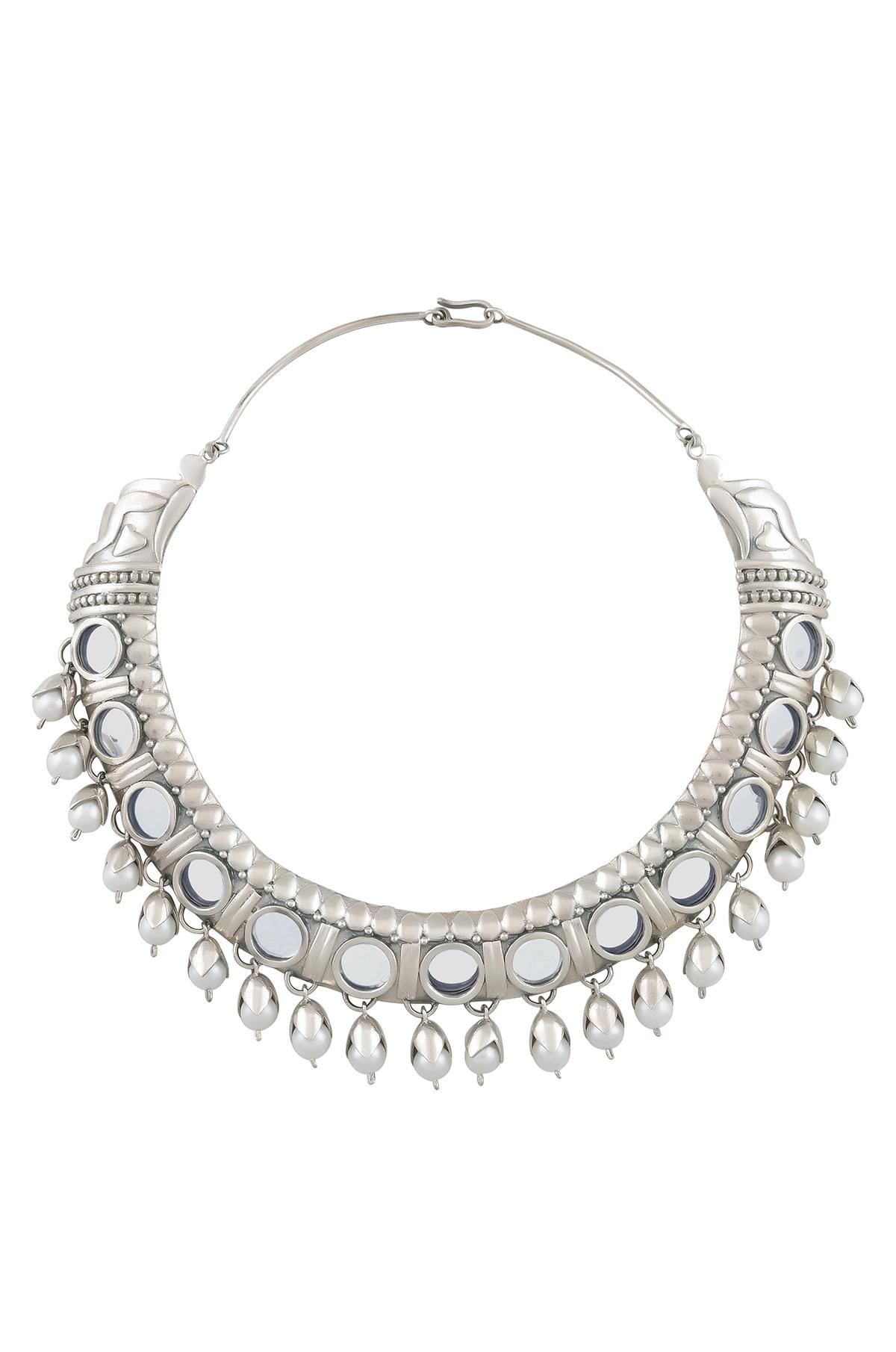 Silver Round Mirror Pearl Drop Necklace