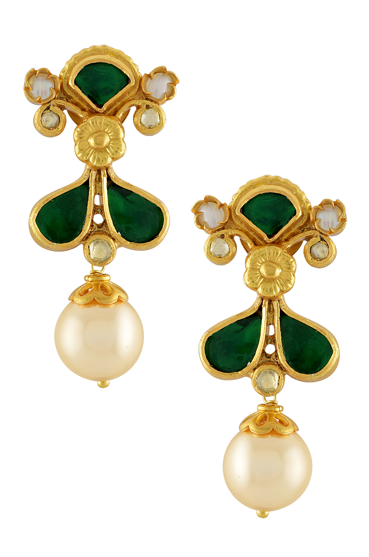Silver Gold Plated Green Pearl Drop Floral Paisley Earrings
