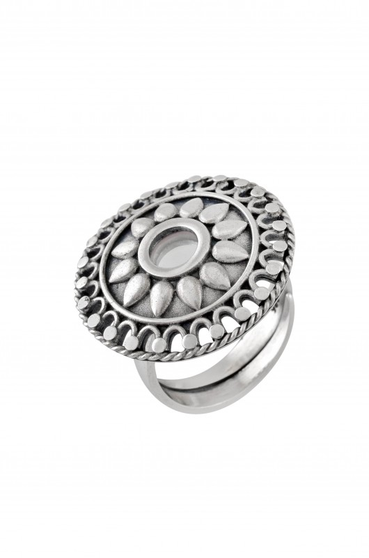 Silver Round Floral Mirror Ring