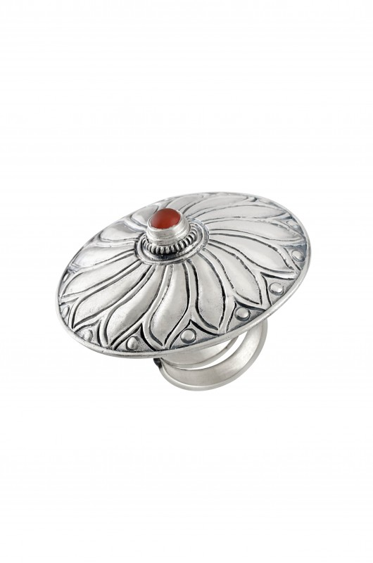 Silver Floral Round Red Onyx Ring
