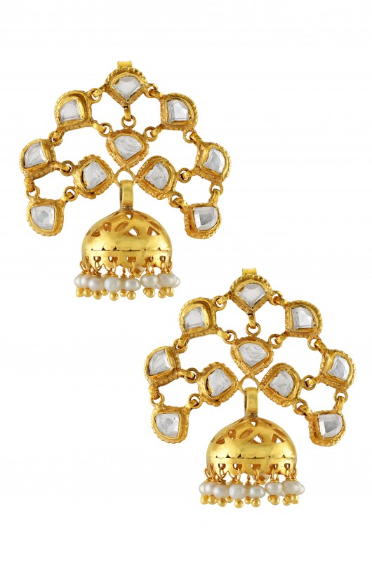 Silver Gold Plated Interlinked Crystal Pearl Cutout Jhumki Earrings