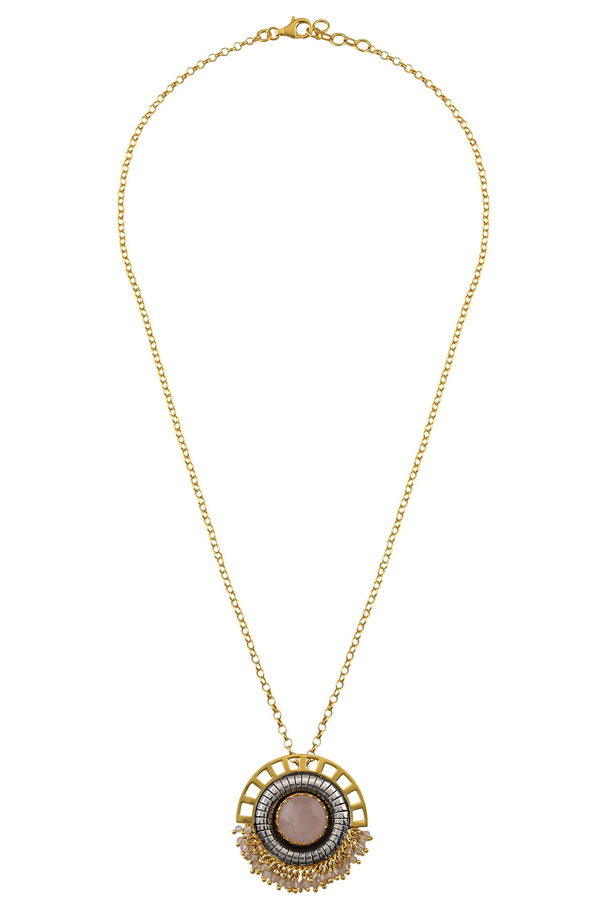 Silver Dual Tone Rose Quartz Arch Necklace