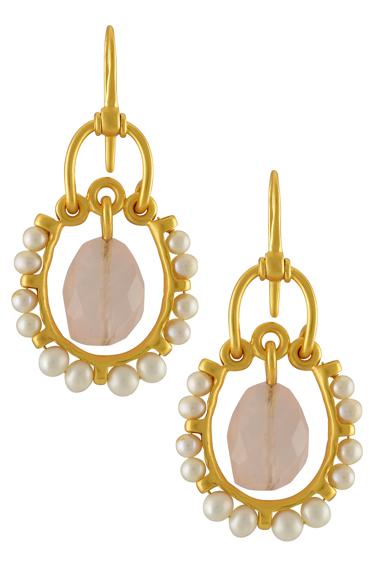 Silver Gold Plated Pearl Rose Quartz Ring Earrings