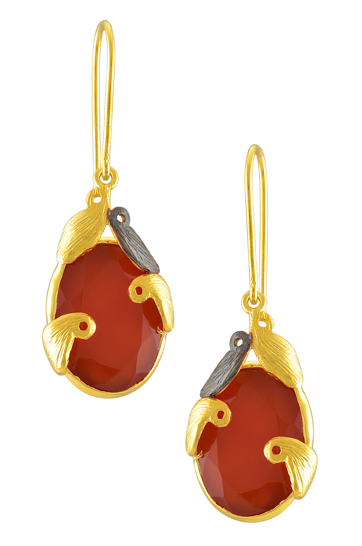Silver Two Tone Red Onyx Textured Motif Earrings
