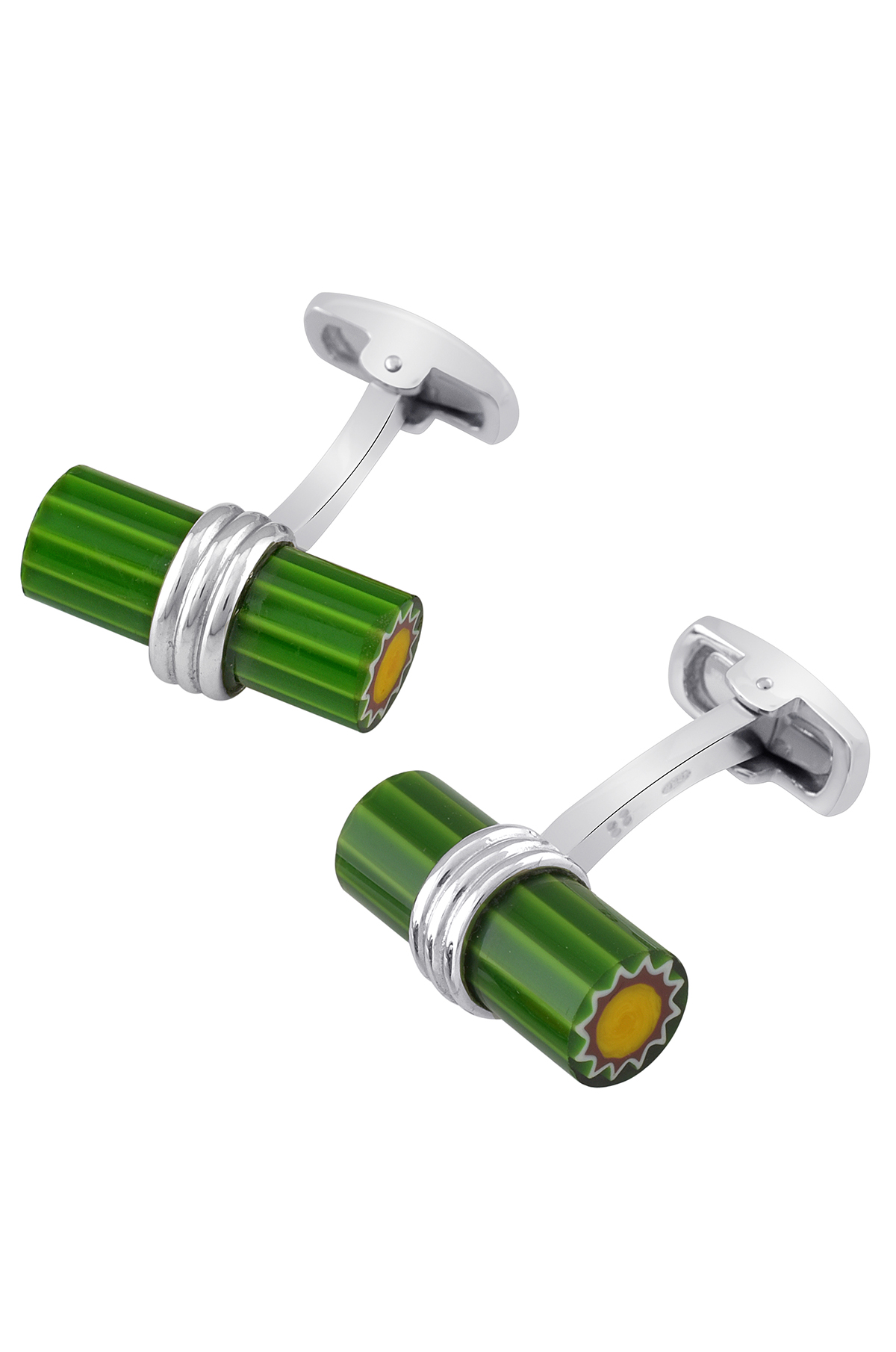 Silver Green Cylindrical Sun Cufflinks