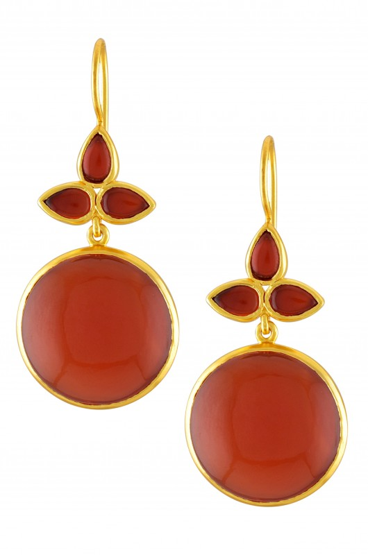Silver Gold Plated Red Onyx Leaf Earrings