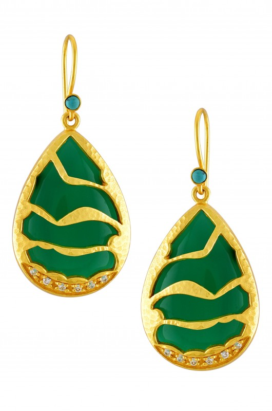 Silver Gold Plated Green Onyx Textured Zircon Earrings