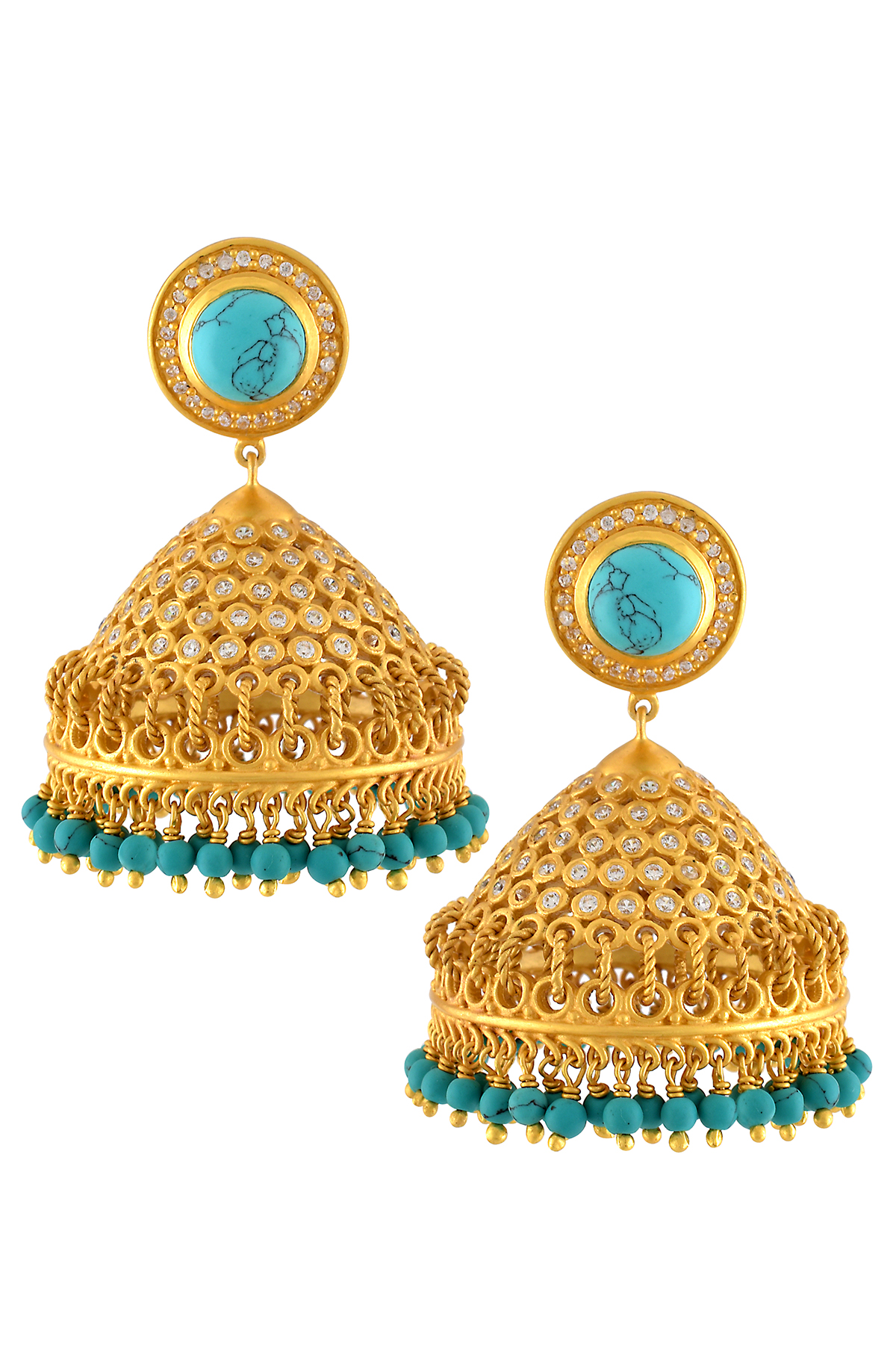 Silver Gold Plated Traditional Turquoise Zircon Jhumka