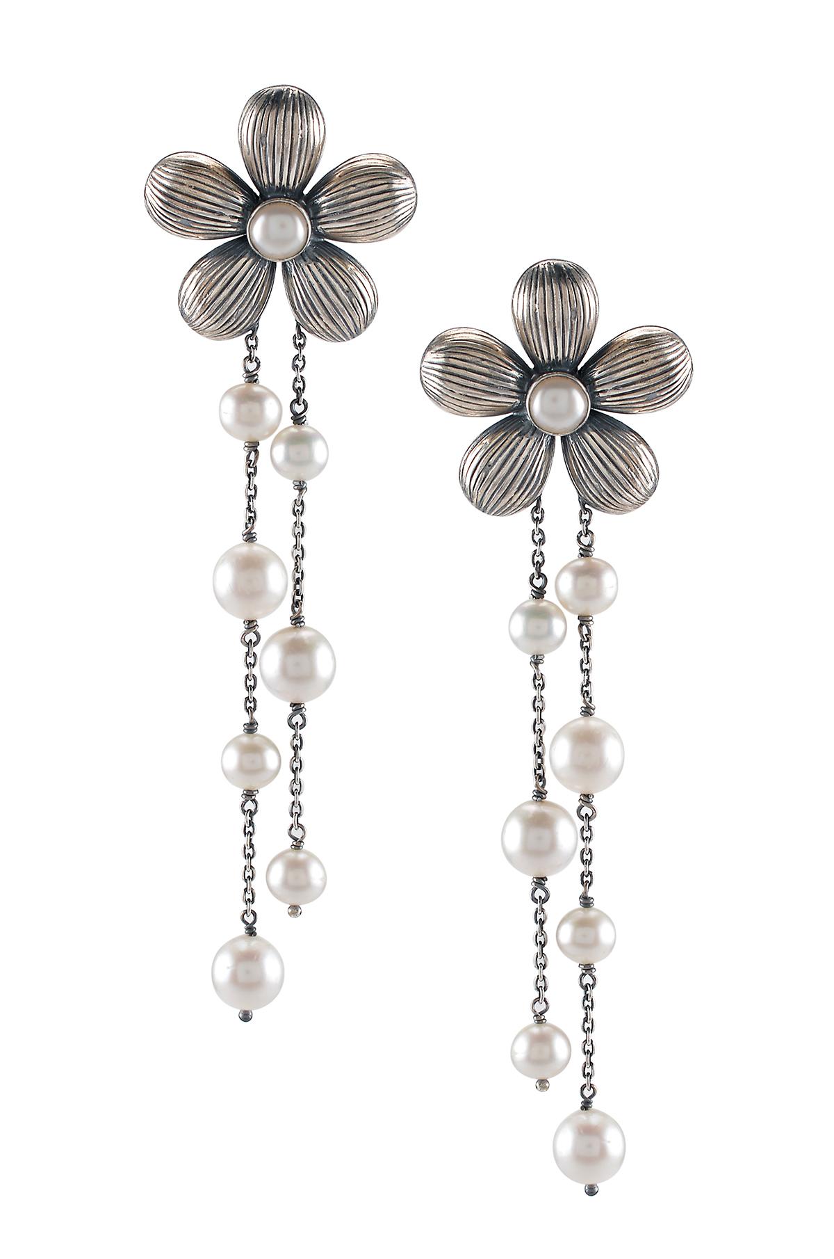 Silver Flower Pearl Tassel Earrings