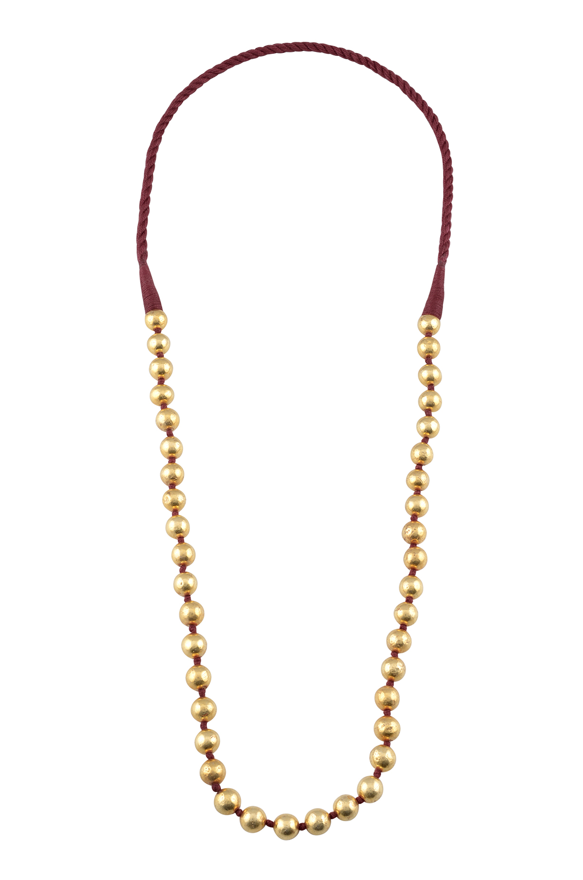 Silver Gold Plated Round Bead Necklace
