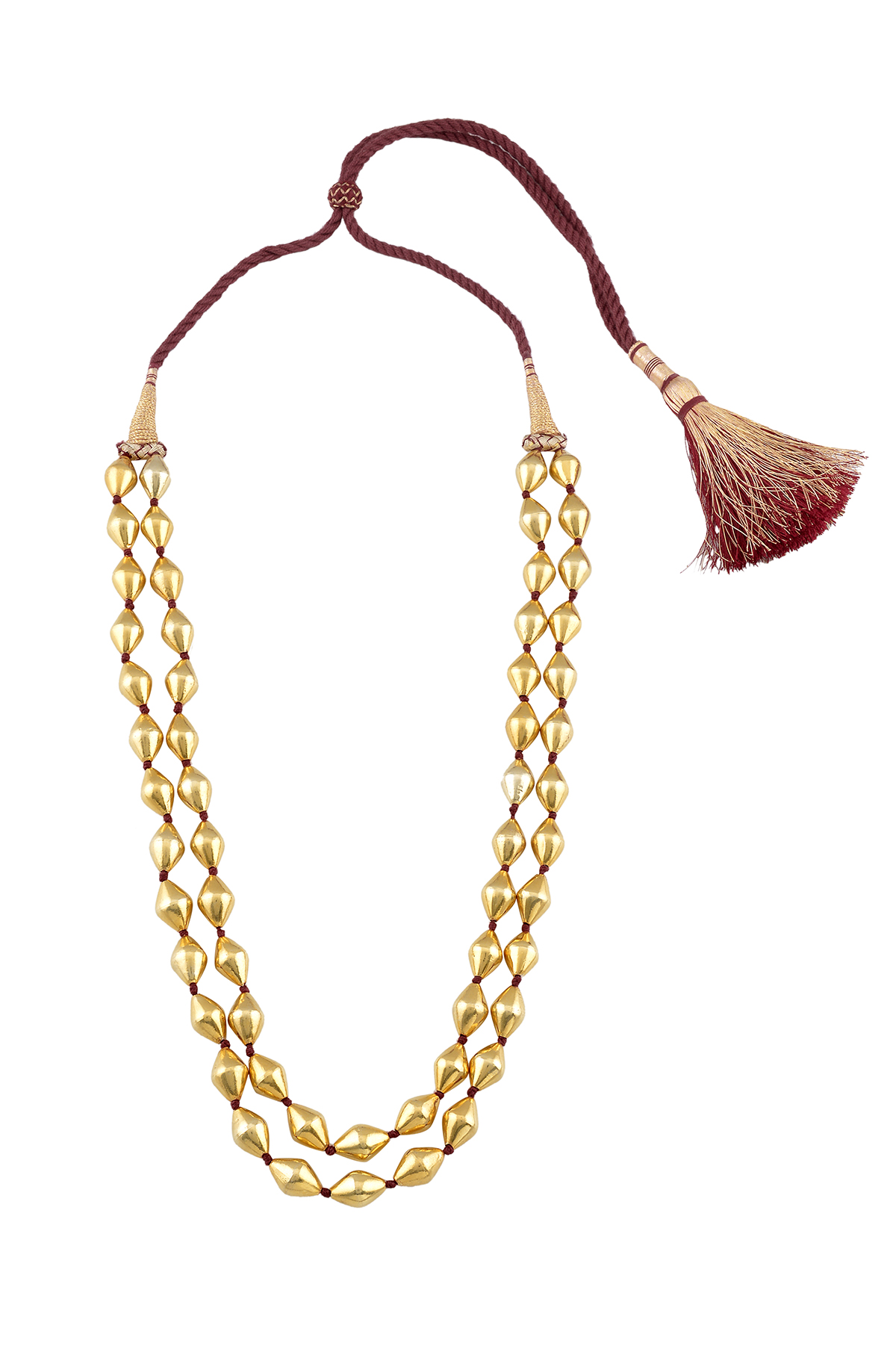 Silver Gold Plated Two Layer Dholki Necklace
