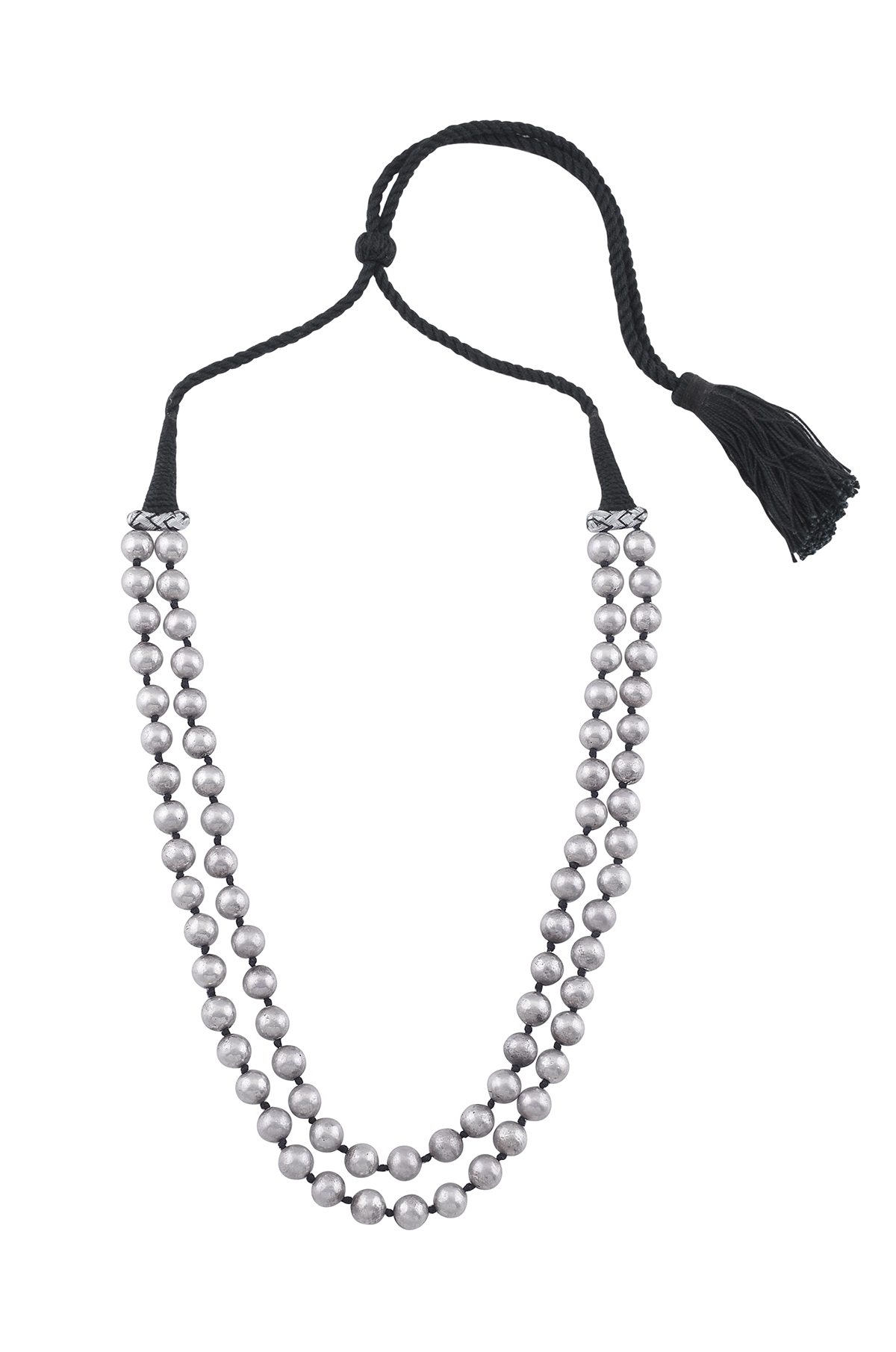 Silver Two Layer Round Bead Necklace