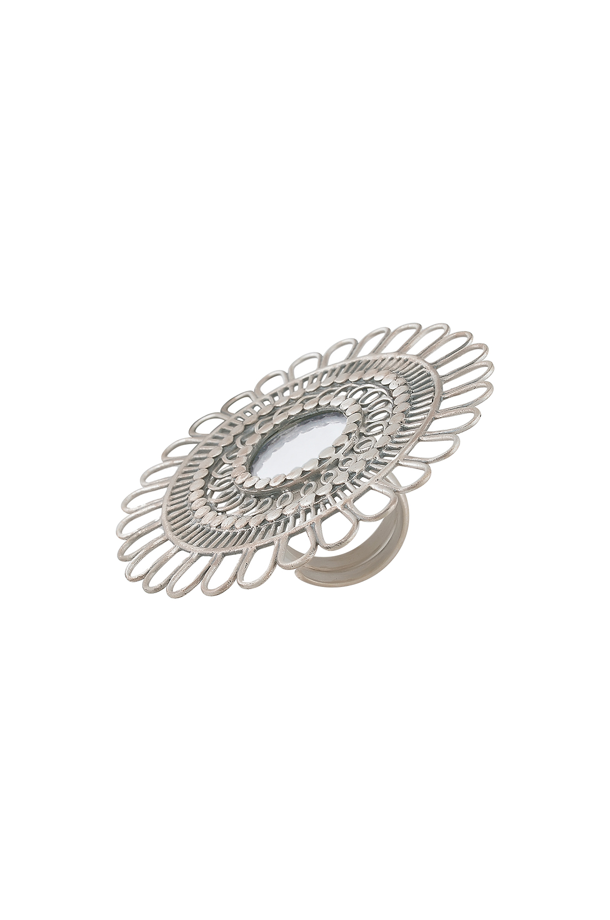 Silver Mirror Flower Ring