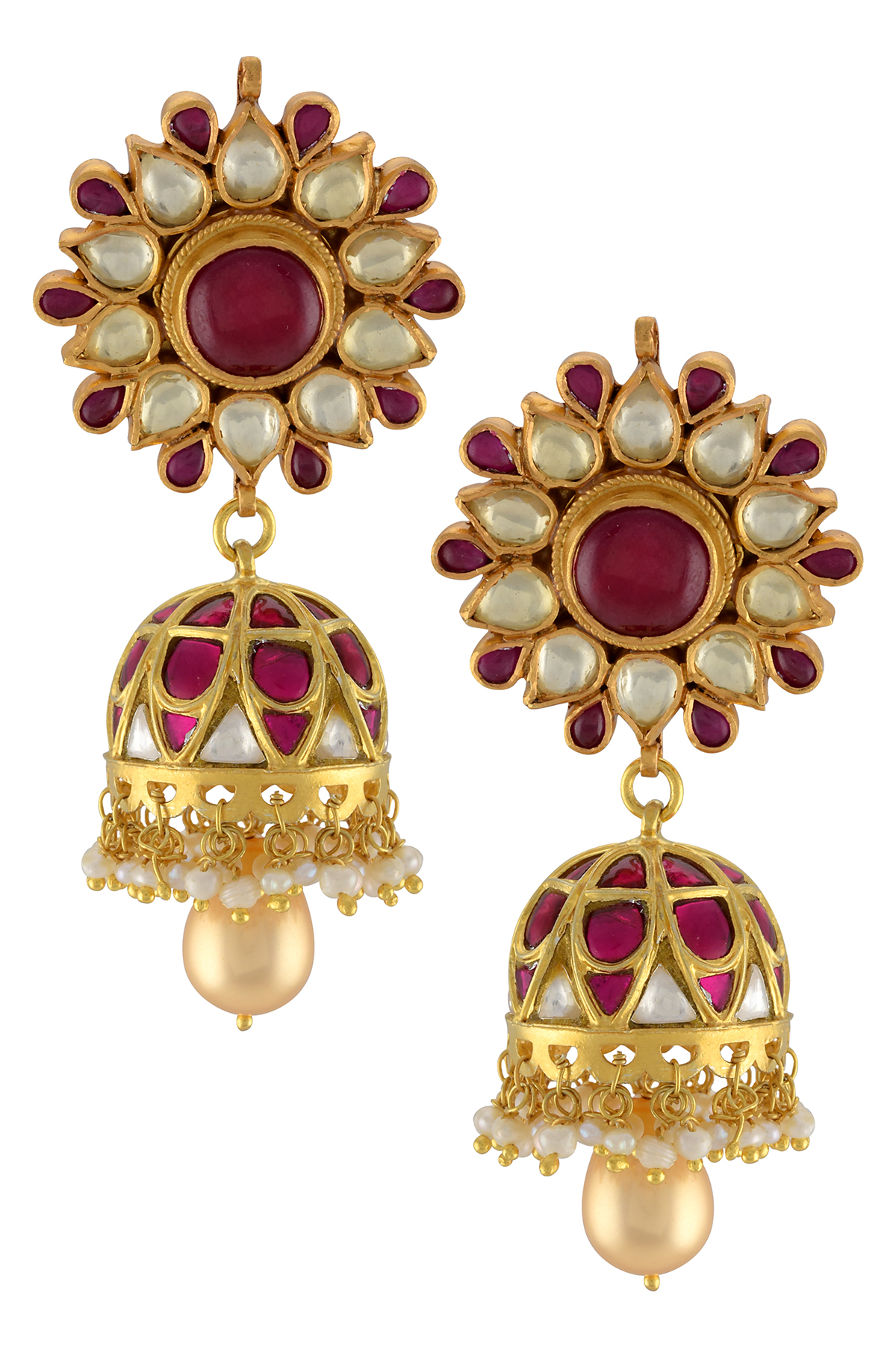 Silver Gold Plated Pink White Glass Flower Jhumki Earrings