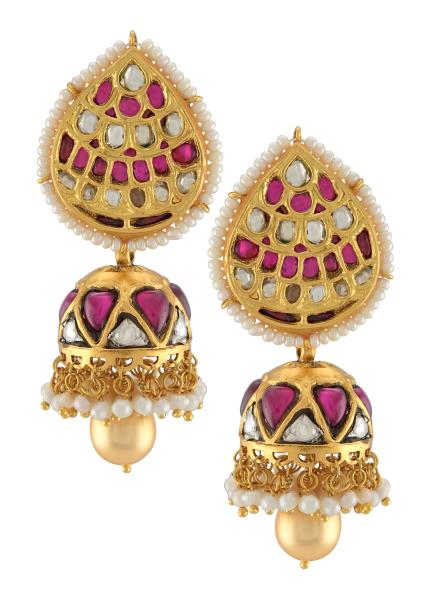 Silver Gold Plated Pear Pearl Lined Jhumki Earrings