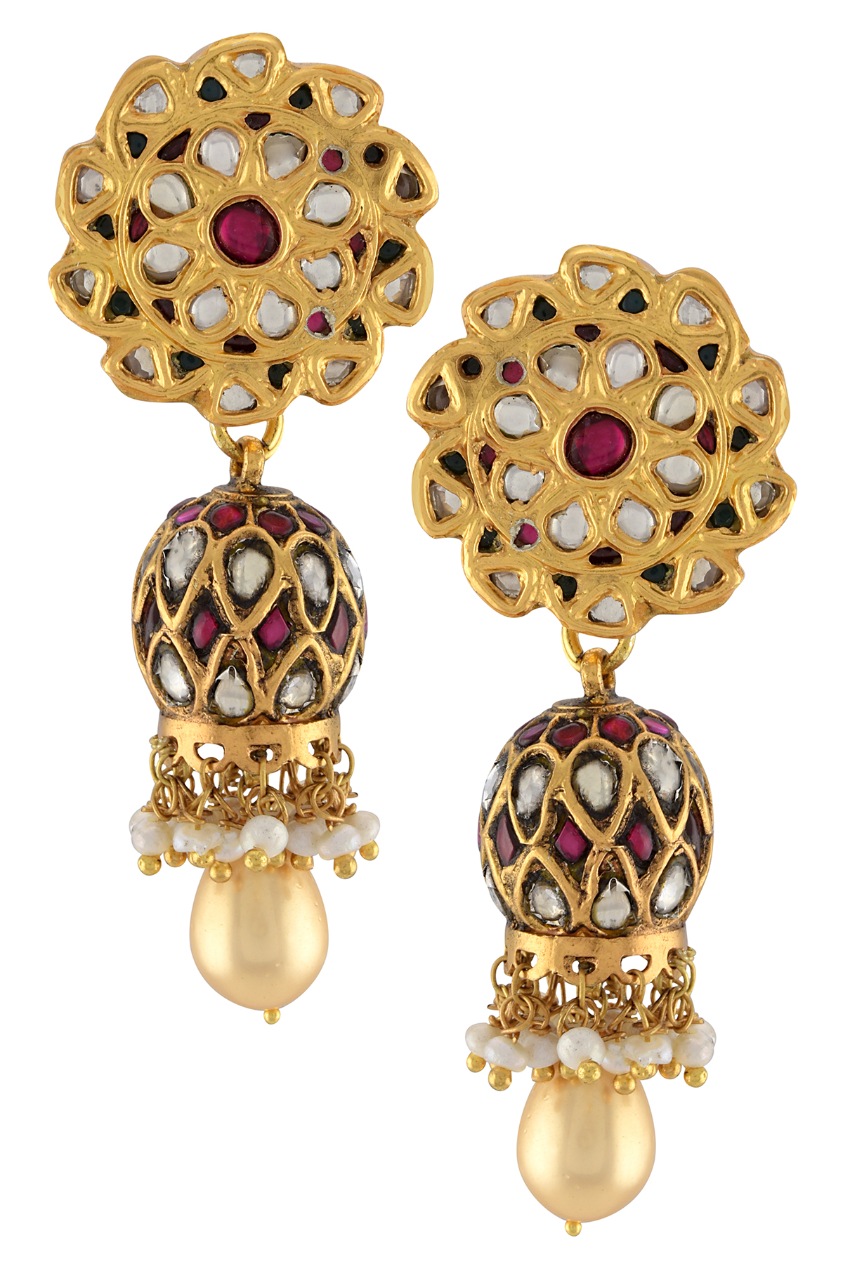 Silver Gold Plated Floral Glass Pearl Drop Jhumki Earrings