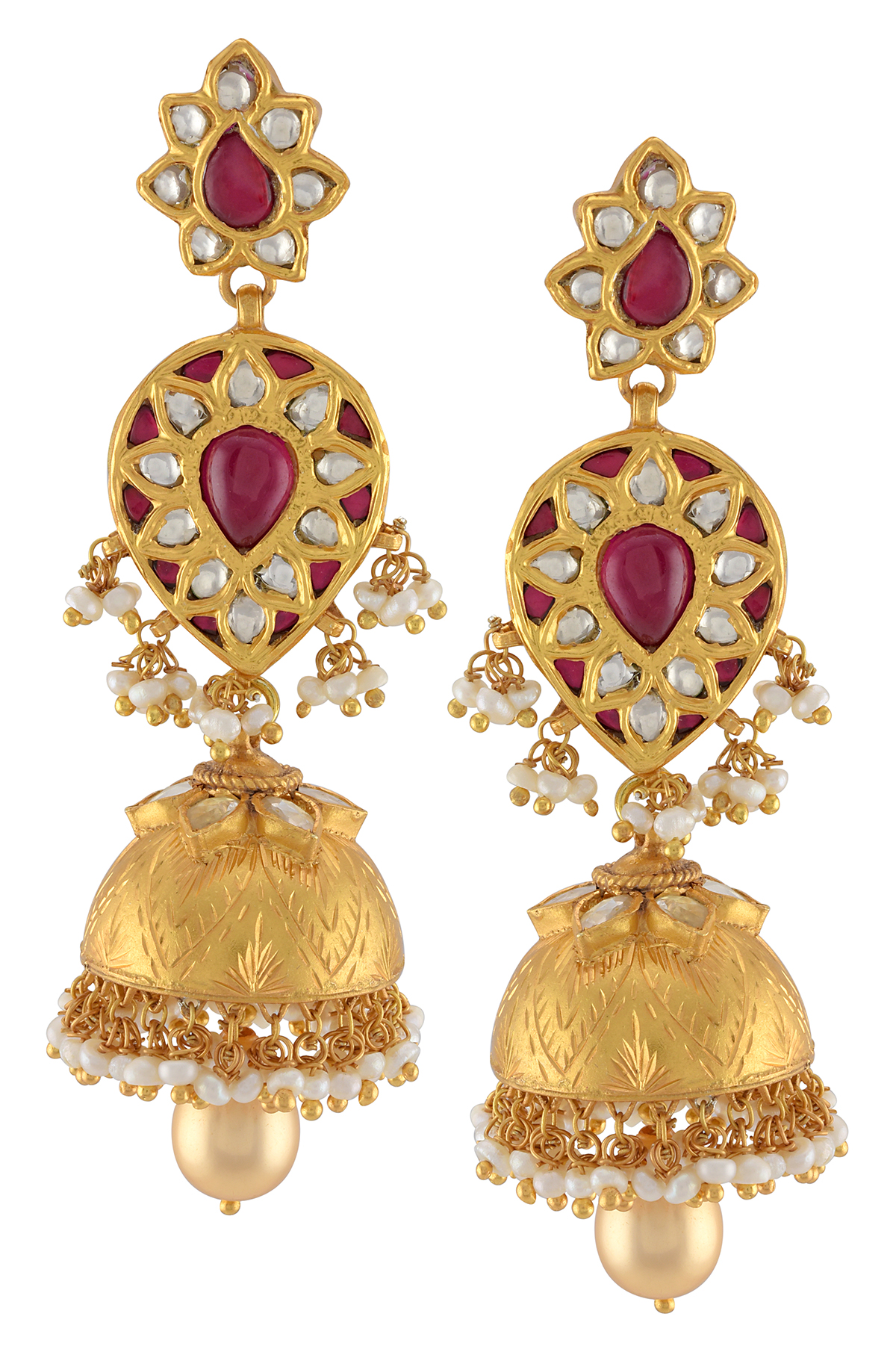 Silver Gold Plated Pink Glass Floral Pearl Drop Jhumki Earrings
