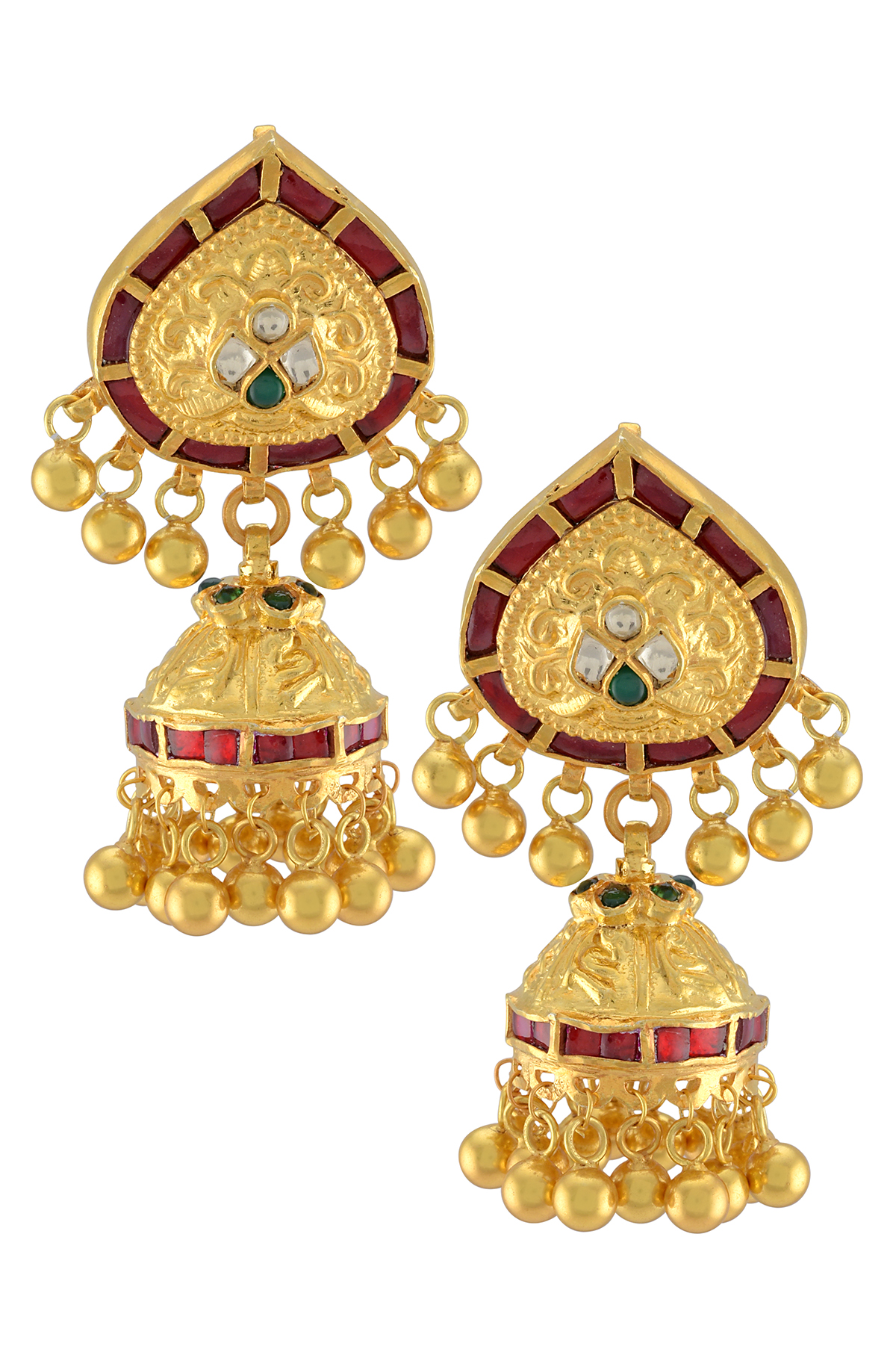 Silver Gold Plated Red Green Glass Rawa Drop Jhumki Earrings