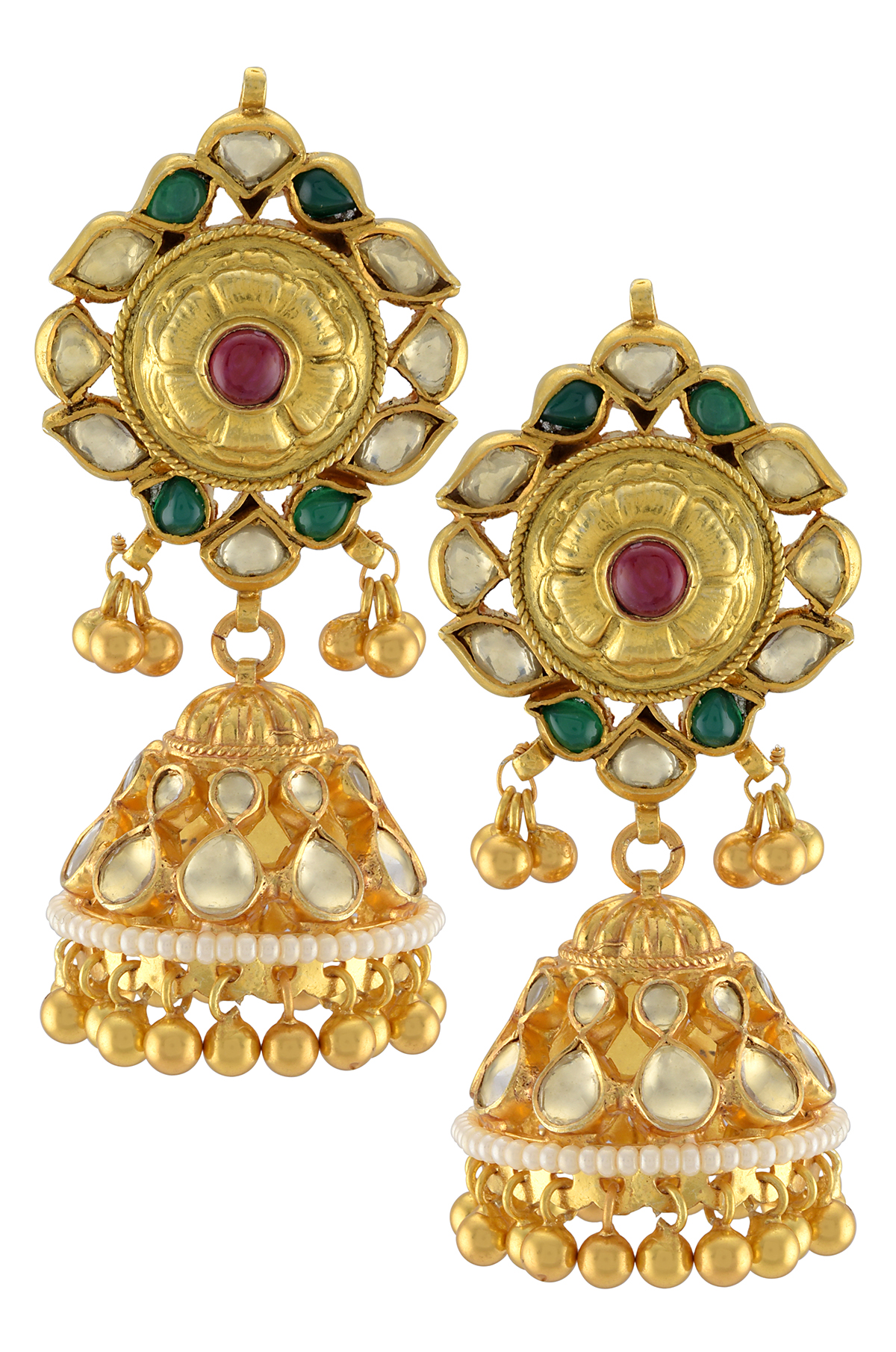 Silver Gold Plated Traditiona Rawa Droplet Jhumki Earrings