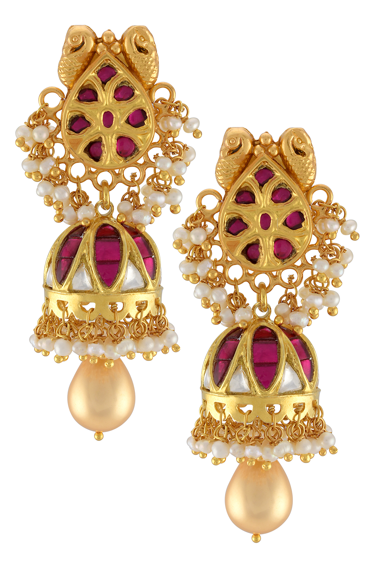 Silver Gold Plated Peacock Pearl Charm Jhumki Earrings