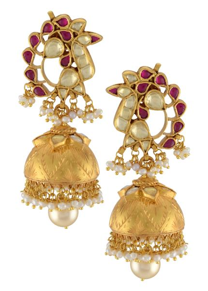 Silver Gold Plated Pink White Glass Peacock Jhumki Earrings