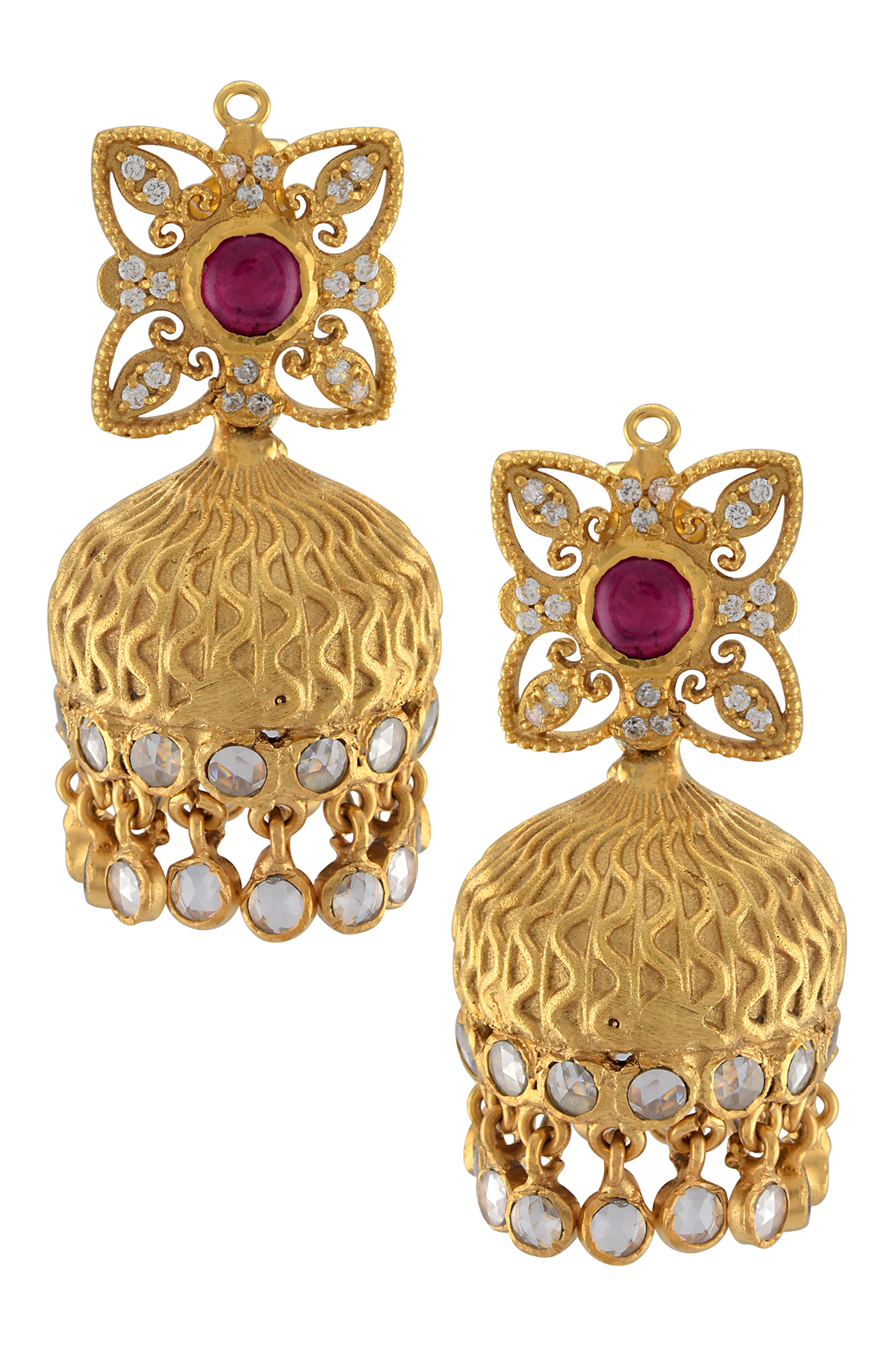 Silver Gold Plated Victorian Style Jhumki Earrings