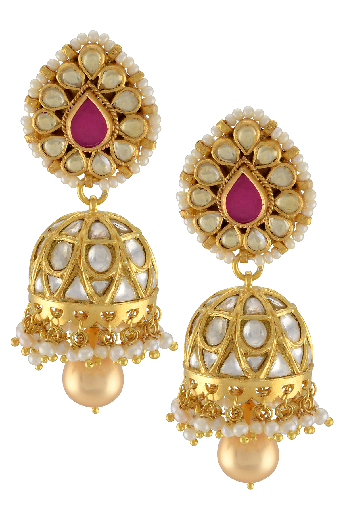 Silver Gold Plated Pear Glass Pearl Lined Jhumki Earrings