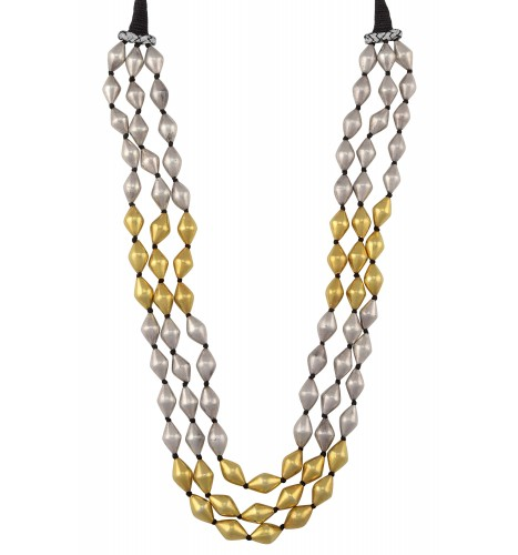 Dual Tone Silver Three Layer Dholki Bead Thread Necklace