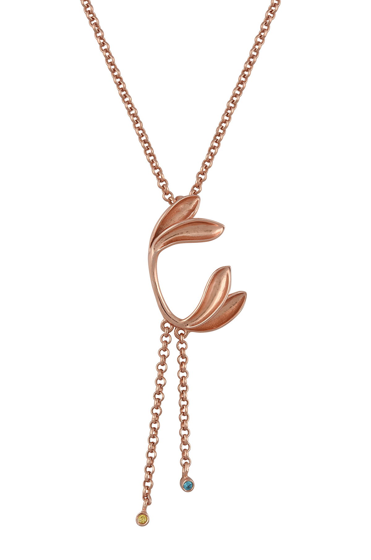 Silver Rose Gold Plated Leafy Tassel Drop Pendant Necklace